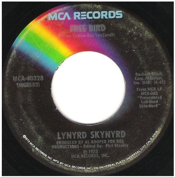"Lynyrd Skynyrd / Free Bird | MCA 40328 | Single, 7"" Vinyl | November 1974 | Sudio Version"