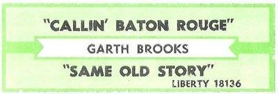Brooks, Garth / Callin' Baton Rouge | Liberty 18136 | Jukebox Title Strip | August 1994