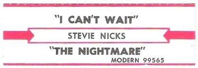 Nicks, Stevie / I Can't Wait | Modern 99565 | Jukebox Title Strip | February 1986