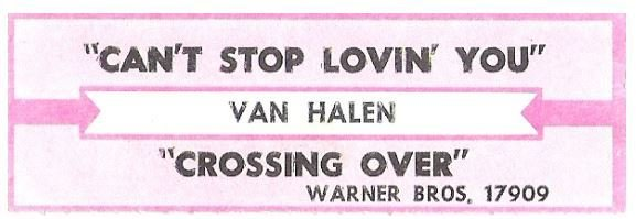Van Halen / Can't Stop Lovin' You | Warner Bros. 17909 | Jukebox Title Strip | March 1995