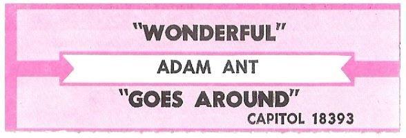Ant, Adam / Wonderful   Capitol 18393   Jukebox Title Strip   April 1995