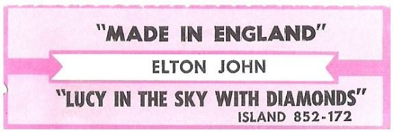 John, Elton / Made In England | Island 852-172 | Jukebox Title Strip | June 1995