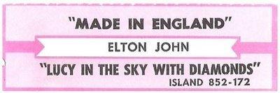 John, Elton / Made In England | Island 852-172 | Jukebox Title Strip | June 1995