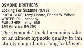 Osmond Brothers, The / Looking For Suzanne | Magazine Review | October 1986