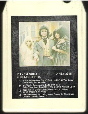 Dave + Sugar / Greatest Hits | RCA AHS1-3915  | White Shell | 8-Track Tape | 1981