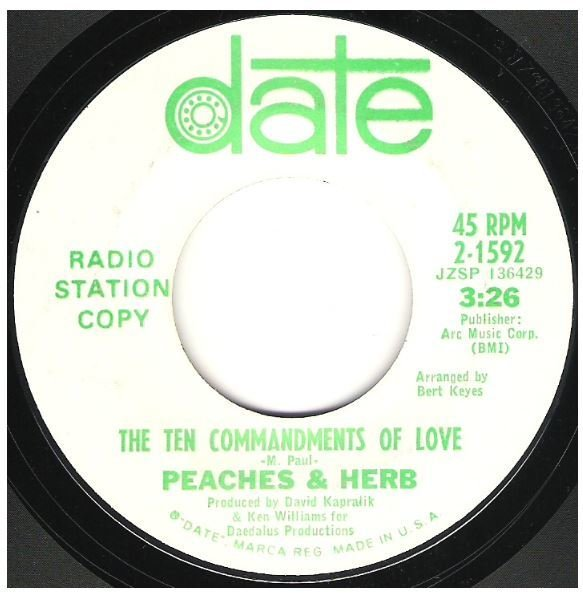 "Peaches + Herb / The Ten Commandments of Love | Date 2-1592 | Single, 7"" Vinyl 