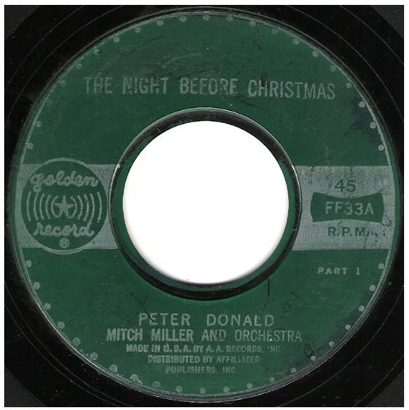 "Donald, Peter / The Night Before Christmas | Golden Record FF-33 | Single, 7"" Vinyl"
