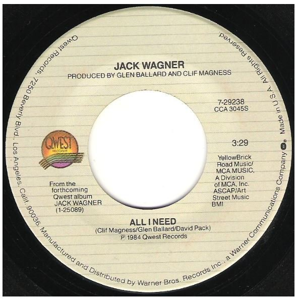 "Wagner, Jack / All I Need | Qwest 7-29238 | Single, 7"" Vinyl 