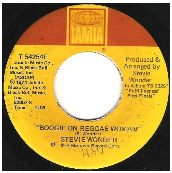"Wonder, Stevie / Boogie On Reggae Woman | Tamla T-54254F | Single, 7"" Vinyl 