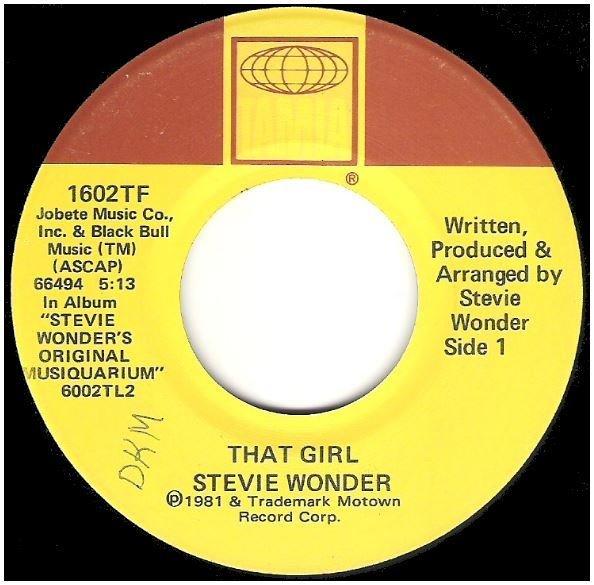 """Wonder, Stevie / That Girl   Tamla 1602TF   Single, 7"""" Vinyl   December 1981"""
