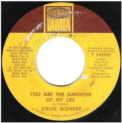 Wonder, Stevie / You Are the Sunshine of My Life   Tamla T-54232F   Single, 7