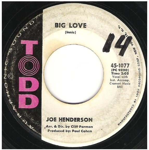 "Henderson, Joe / Big Love | Todd 45-1077 | Single, 7"" Vinyl 