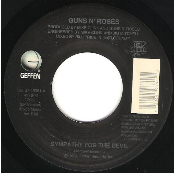 "Guns N' Roses / Sympathy for the Devil | Geffen GEFS7-19381 | Single, 7"" Vinyl 