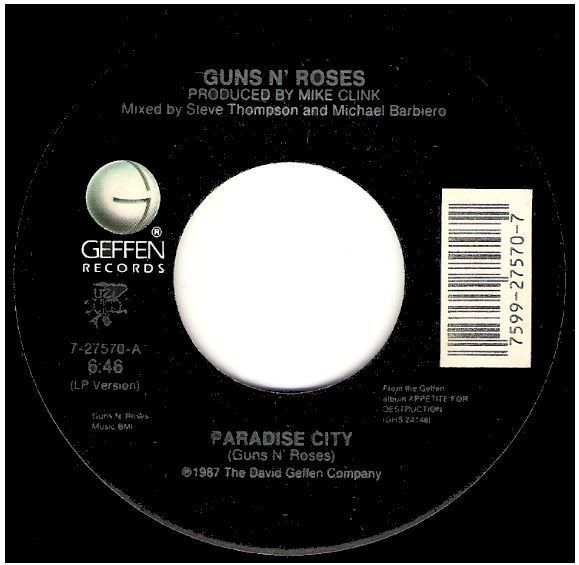 "Guns N' Roses / Paradise City | Geffen 7-27570 | Single, 7"" Vinyl 
