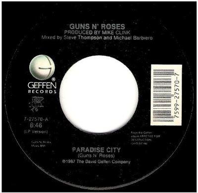 Guns N' Roses / Paradise City   Geffen 7-27570   Single, 7