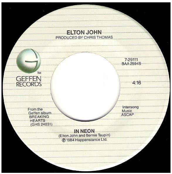 "John, Elton / In Neon | Geffen 7-29111 | Single, 7"" Vinyl | November 1984"