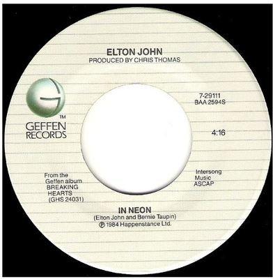 John, Elton / In Neon   Geffen 7-29111   Single, 7
