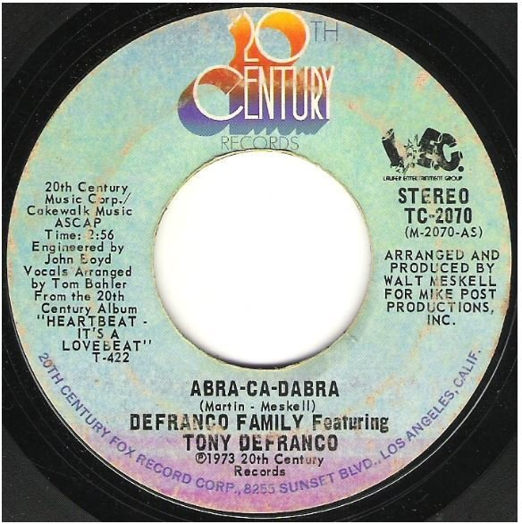"DeFranco Family, The / Abra-Ca-Dabra | 20th Century TC-2070 | Single, 7"" Vinyl 