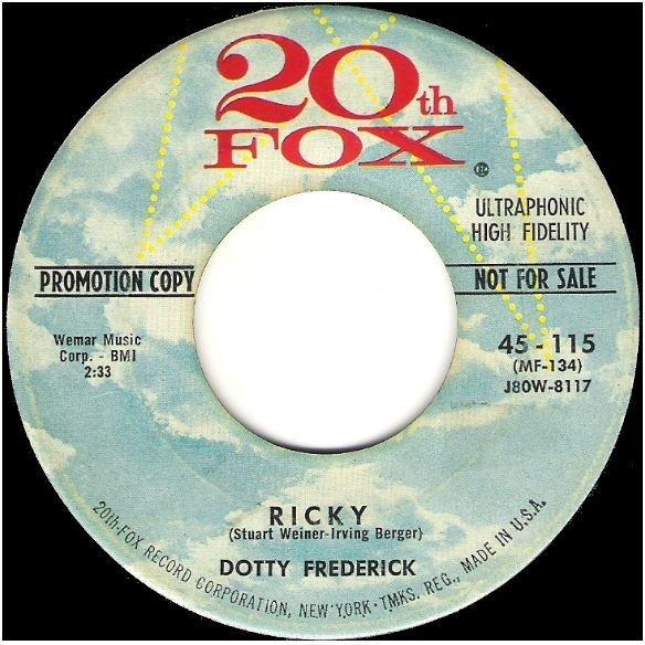 "Frederick, Dotty / Ricky | 20th Fox 45-115 | Single, 7"" Vinyl | October 1978 | Promo"