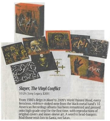 Slayer / The Vinyl Conflict | Newspaper Review | December 2010