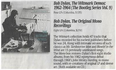 Dylan, Bob / The Witmark Demos: 1962-1964 | Newspaper Review | December 2010