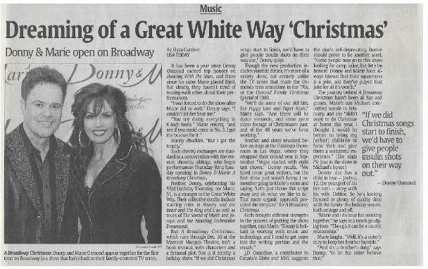 Osmond, Donny + Marie / Dreaming of a Great White Way 'Christmas' | Newspaper Article | December 2010