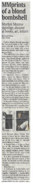 Monroe, Marilyn / MMprints of a Blond Bombshell | Newspaper Article | December 2010