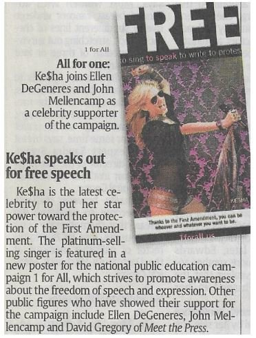 Kesha / Ke$ha Speaks Out for Free Speech | Newspaper Article | December 2010