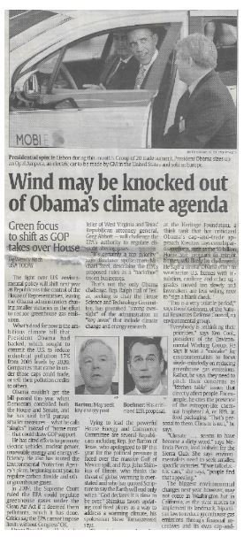 Obama, Barack / Wind May Be Knocked Out of Obama's Climate Agenda | Newspaper Article | November 2010