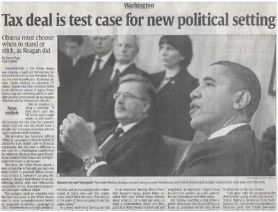 Obama, Barack / Tax Deal is Test Case for New Political Setting | Newspaper Article | December 2010