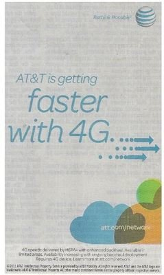 AT+T / AT+T Is Getting Faster with 4G | Newspaper Ad | February 2011