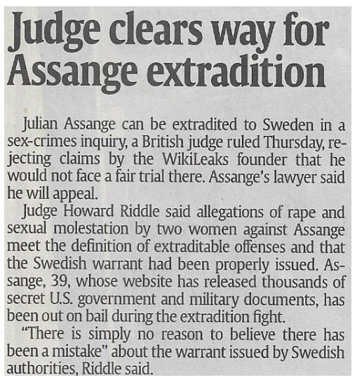 Assange, Julian / Judge Clears Way for Assange Extradition | Newspaper Article | February 2011