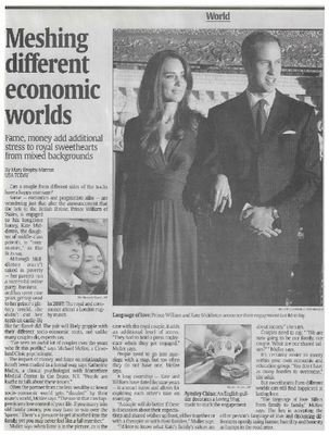Prince William + Kate Middleton / Meshing Different Economic Worlds | Newspaper Article | November 2010