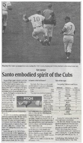 Santo, Ron / Santo Embodied Spirit of the Cubs | Newspaper Article | December 2010