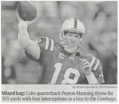 Manning, Peyton / Manning's Miscues Extend Colts' Doldrums | Newspaper Article | December 2010