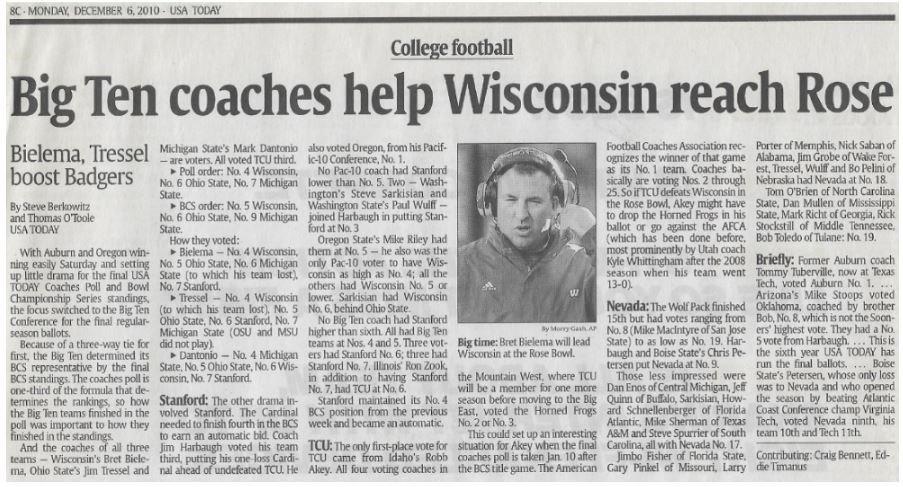 Bielema, Bret / Big Ten Coaches Help Wisconsin Reach Rose | Newspaper Article | December 2010 | Wisconsin Badgers