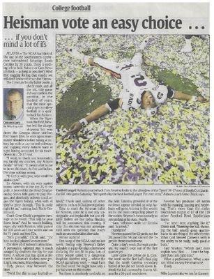 Newton, Cam / Heisman Vote An Easy Choice | Newspaper Article | December 2010 | Auburn Tigers
