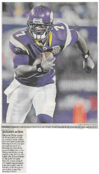 Jackson, Tarvaris / Jackson's Action | Newspaper Article | December 2010 | Minnesota Vikings