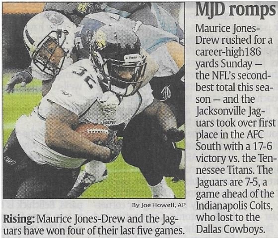 Jones-Drew, Maurice / MJD Romps | Newspaper Article | December 2010 | Jacksonville Jaguars