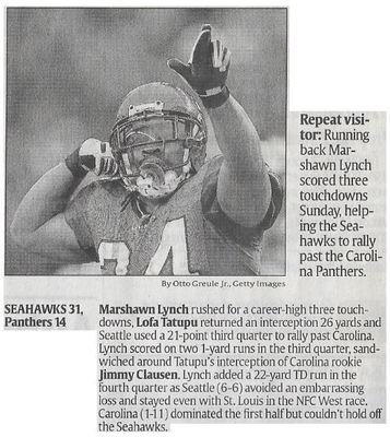 Lynch, Marshawn / Repeat Visitor | Newspaper Article | December 2010 | Seattle Seahawks