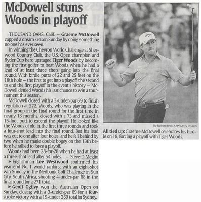 McDowell, Graeme / McDowell Stuns Woods in Playoff | Newspaper Article | December 2010