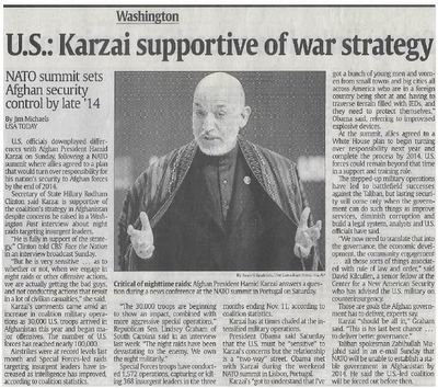 Karzai, Hamid / U.S.: Karzai Supportive of War Strategy | Newspaper Article | November 2010