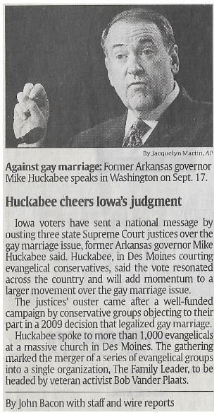 Huckabee, Mike / Huckabee Cheers Iowa's Judgement | Newspaper Article | November 2010