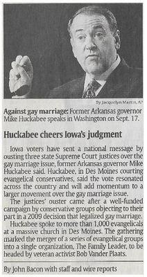 Huckabee, Mike / Huckabee Cheers Iowa's Judgement | Newspaper Article | November 2010
