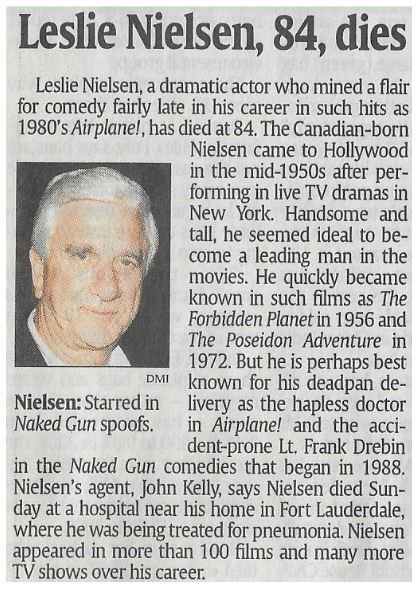 Nielsen, Leslie / Leslie Nielsen, 84, Dies | Newspaper Article | November 2010 | Obituary