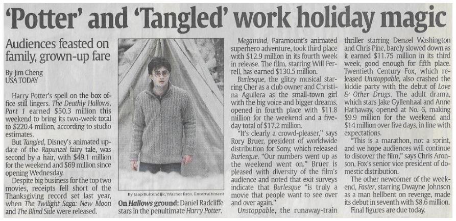 Radcliffe, Daniel / 'Potter' and 'Tangled' Work Holiday Magic | Newspaper Article | November 2010