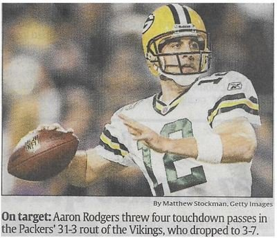 Rodgers, Aaron / On Target | Newspaper Photo | November 2010 | Green Bay Packers