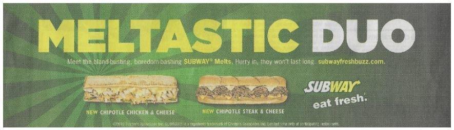 Subway / Meltastic Duo | Newspaper Ad | November 2010