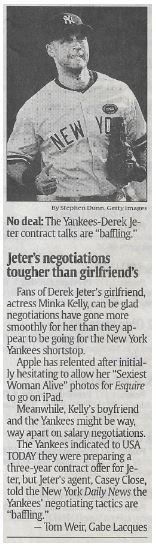 Jeter, Derek / Jeter's Negotiations Tougher Than Girlfriend's | Newspaper Article | November 2010 | New York Yankees