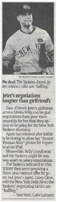Jeter, Derek / Jeter's Negotiations Tougher Than Girlfriend's | Newspaper Article | November 2010 | New York Yankees